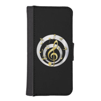 Retro 3D Effect Gold and Silver Musical Notes iPhone SE/5/5s Wallet Case