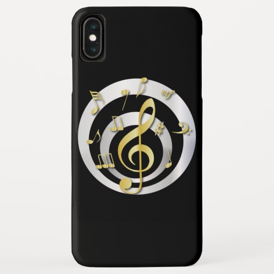 Retro 3D Effect Gold and Silver Musical Notes iPhone XS Max Case