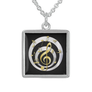 Retro 3D Effect Gold and Silver Musical Notes Custom Necklace