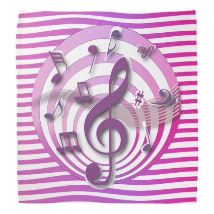 Retro 3D Effect Pink Musical Notes Bandana