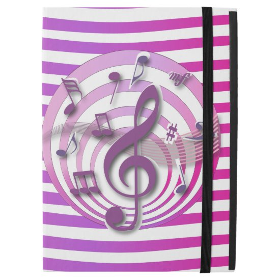 Retro 3D Effect Pink Musical Notes ipad pro case