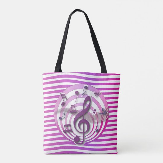 Retro 3D Effect Pink Musical Notes Tote Bag