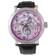 Retro 3D Effect Pink Musical Notes Watch