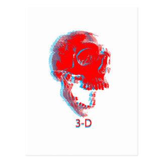 Retro 3D Skull Postcard