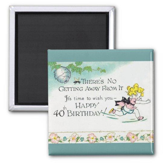 Retro 40th Birthday Magnet