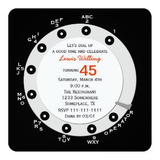 Retro 45th Birthday Party Invitation Rotary Dial