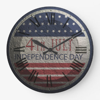 Retro 4th Of July Independenc Day Round Wall Clock