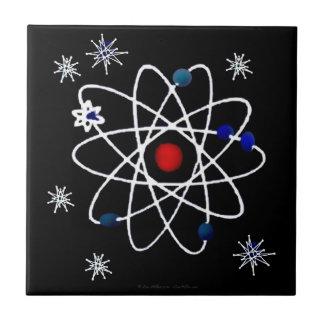 Retro 50s Atomic Print On Black Tile