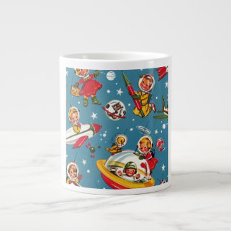 Retro 50's Cartoon Space Kids in Rocket Ships! Jumbo Mug
