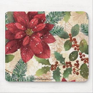 Retro 50s Christmas Poinsettia Mousepad