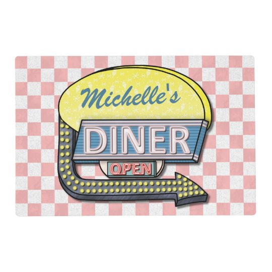 Retro 50's Diner Sign | Personalized Name Placemat