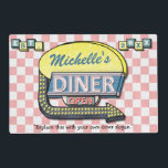 "Retro 50&#39;s Diner Sign | Personalized Name Slogan Placemat<br><div class=""desc"">Create your own custom, 1950&#39;s style diner sign placemat using this template. These cool retro placemats have a slightly distressed pink-and-white checkered background with a sign on top that says &quot;DINER&quot; and &quot;OPEN&quot; in neon with space for you to add your own first or last name - or any other...</div>"