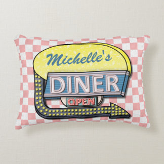 Retro 50's Diner Sign Pink Checkered Personalized Decorative Pillow