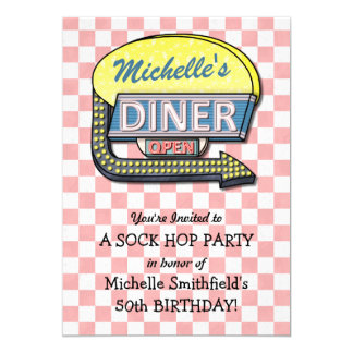 Retro 50s Diner Sock Hop Birthday Party Theme Card