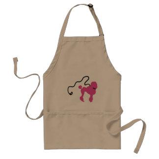 Retro 50's Felt Pink Poodle & Leash Adult Apron
