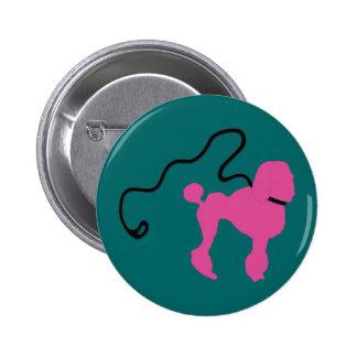 Retro 50's Felt Pink Poodle & Leash Button