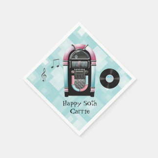 Retro 50's Jukebox Custom Paper Napkins