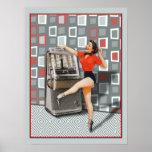 Retro 50s Jukebox Dancing Pinup Girl Posters