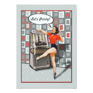 Retro 50s Jukebox Pinup Girl Custom Party Card