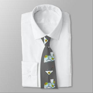 Retro 50s Martini Glass Party Time (Dk. Gray) Neck Tie