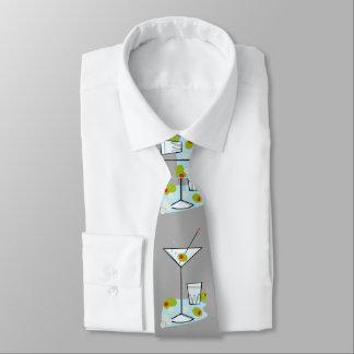 Retro 50s Martini Glass Party Time (Lt. Gray) Neck Tie