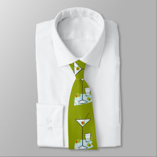 Retro 50s Martini Glass Party Time (Moss Green) Tie