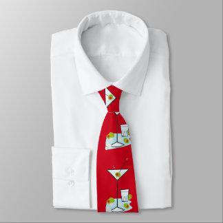 Retro 50s Martini Glass Party Time (Red) Tie