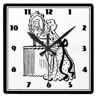 Retro 50s Mid-Century Modern Ladies Boudoir Square Wall Clock