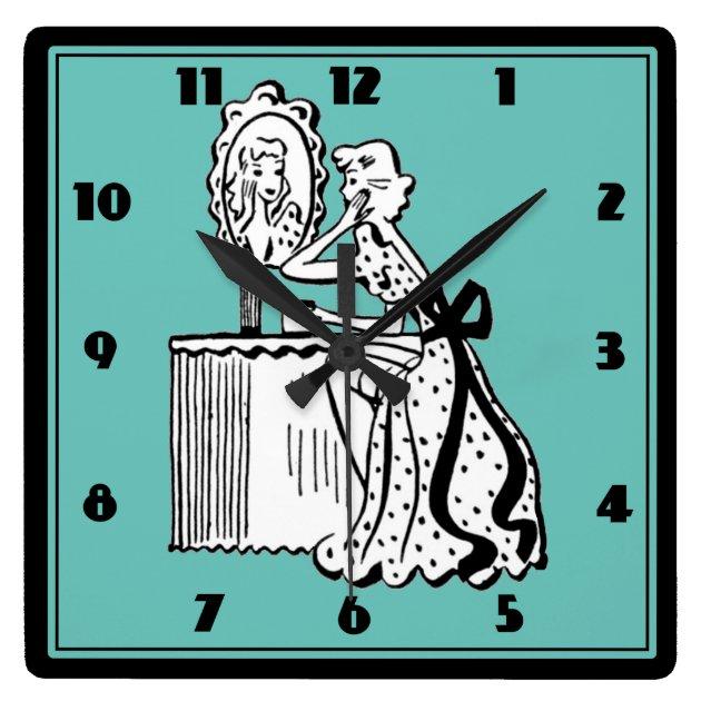 Image of: Retro 50s Mid Century Modern Ladies Boudoir Square Wall Clock Zazzle Com
