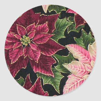 Retro 50s Poinsettia Burgundy Pink Classic Round Sticker