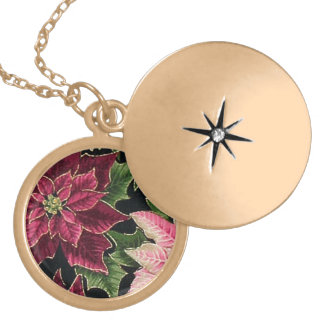 Retro 50s Poinsettia Burgundy Pink Locket Necklace
