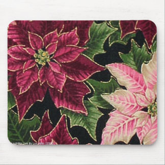 Retro 50s Poinsettia Burgundy Pink Mouse Pad