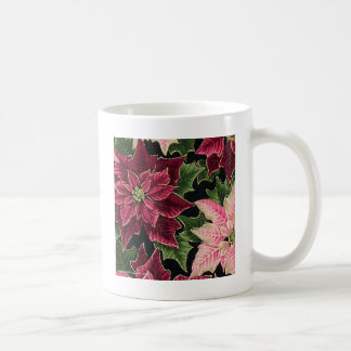 Retro 50s Poinsettia Burgundy Pink Coffee Mug