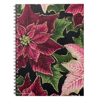 Retro 50s Poinsettia Burgundy Pink Notebook