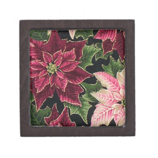 Retro 50s Poinsettia Burgundy Pink Premium Jewelry Boxes