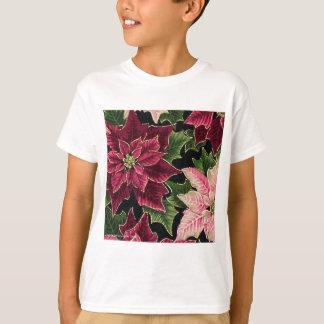 Retro 50s Poinsettia Burgundy Pink T-Shirt