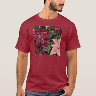 Retro 50s Poinsettia Burgundy Pink T-Shirt