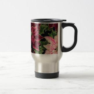 Retro 50s Poinsettia Burgundy Pink Travel Mug