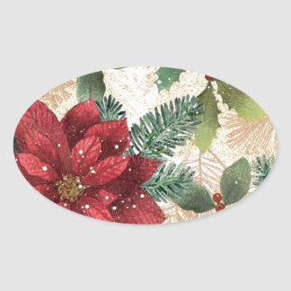 Retro 50s Poinsettia Red Green Cream Oval Sticker