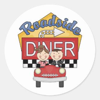 Retro 50's Roadside Diner Classic Round Sticker