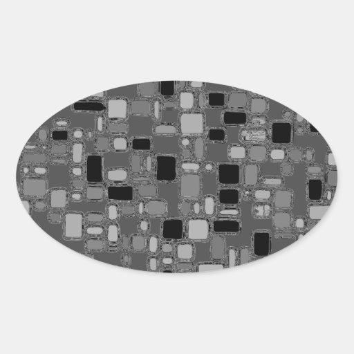 Retro 50's Smooth Chrome Squares Oval Sticker