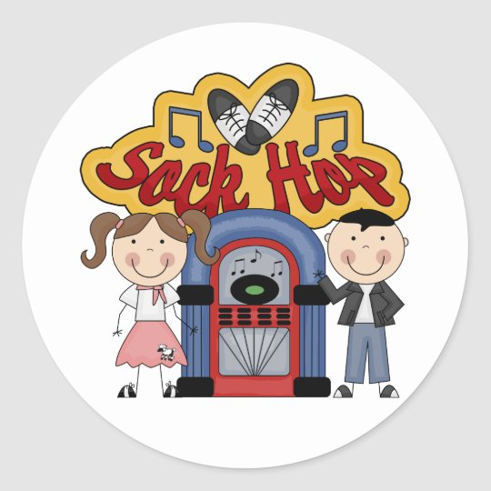Retro 50's Sock Hop Classic Round Sticker