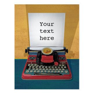 Retro 50s typewriter vintage toy customize text postcard