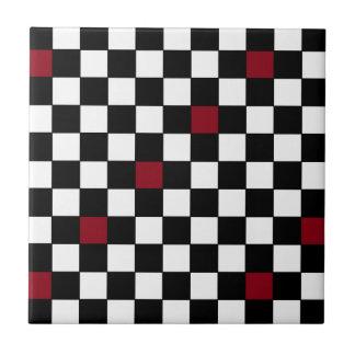 Retro 50s Wine Black Checkerboard Decorator Tile 4