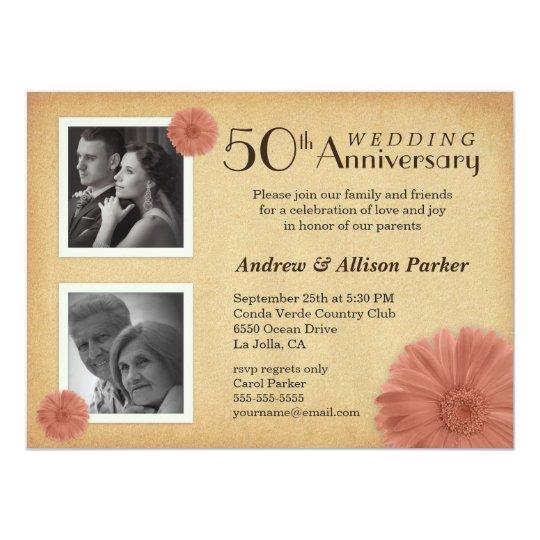 retro 50th anniversary daisy photo invitations zazzle com
