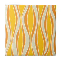 Retro 60ies orange wave pattern tile