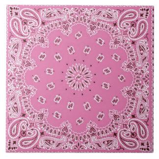 Retro 60s 70s Hippy Pink Bandanna Ceramic Tile