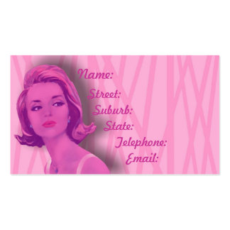 Retro 60s Baby Pink Hairdressers Business Card