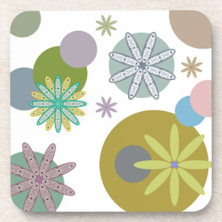 Retro 60s Flowers & Dots Coaster
