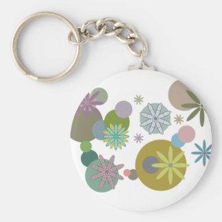 Retro 60s Flowers & Dots Basic Round Button Keychain